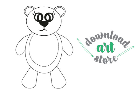 Cute Teddy Printable Coloring Page Graphic Coloring Pages & Books Kids By Download art store