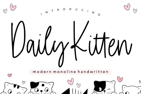 Print on Demand: Daily Kitten Script & Handwritten Font By Balpirick