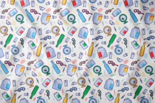 Print on Demand: Glass Waste Seamless Pattern Graphic Patterns By barsrsind