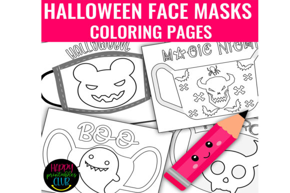Print on Demand: Halloween Face Masks Coloring Pages Graphic Coloring Pages & Books Kids By Happy Printables Club