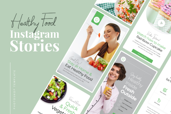 Print on Demand: Healthy Food Instagram Stories Graphic UX and UI Kits By peterdraw