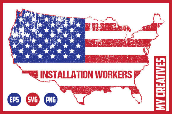 Installation Workers - USA Map Graphic Crafts By MY Creatives