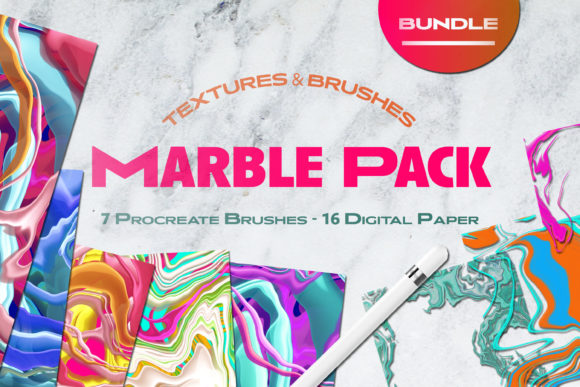 Print on Demand: Liquid Marble Texture Brush Bundle Noise Graphic Brushes By Inkclouddesign