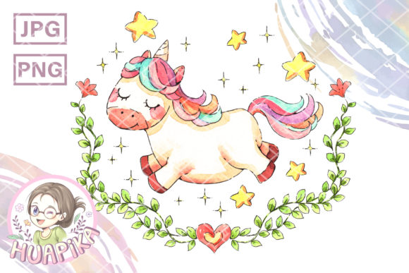 Print on Demand: Little Unicorn and Ivy Frame Graphic Illustrations By huapika