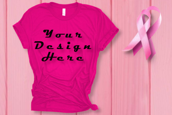 Mockups Pink T-Shirt, Breast Cancer Graphic Product Mockups By ArtStudio