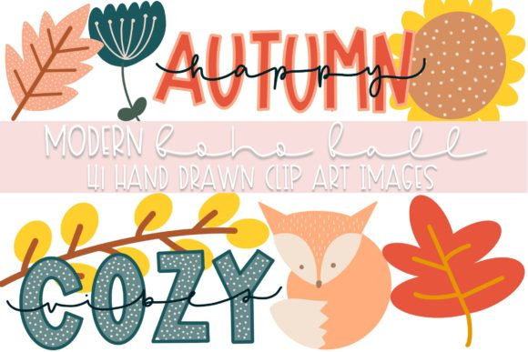 Print on Demand: Modern Boho Fall Clipart Graphic Illustrations By Fairways and Chalkboards