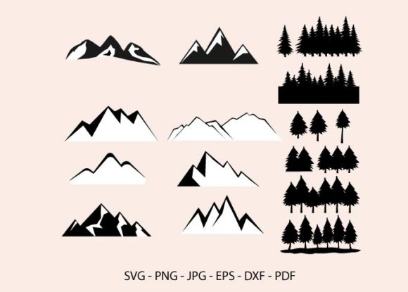 Mountain and Forest, Pine Trees Clipart Graphic Crafts By RedCreations