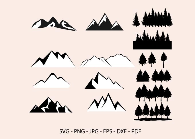 Mountain and Forest, Pine Trees Clipart SVG File