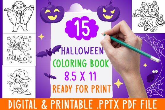 Print on Demand: NEW 15 Halloween Coloring Book for Kids Graphic Coloring Pages & Books Kids By DesignsBundles