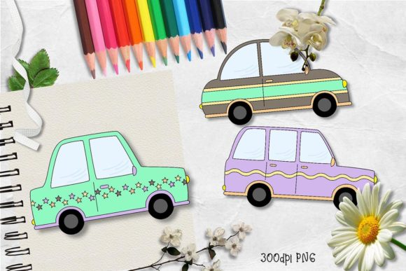 Print on Demand: New Autumn Cars CU Clipart Graphic Illustrations By Arda Designs
