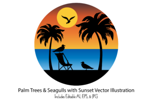 Palm Trees & Seagulls with Sunset Scene Graphic Illustrations By Melissa Held Designs