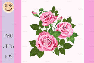 Print on Demand: Pink Roses Bouquet Isolated on the White Graphic Illustrations By TasiPas