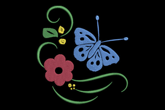 Print on Demand: Red Flower and Blue Butterfly Single Flowers & Plants Embroidery Design By EmbArt