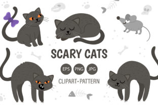 Scary Cats Graphic Illustrations By lexiclaus