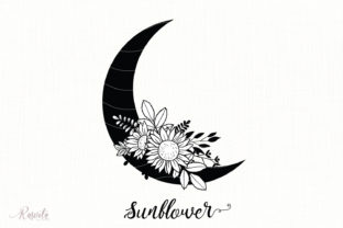 Silhouette of the Moon with Flowers Graphic Illustrations By Rasveta