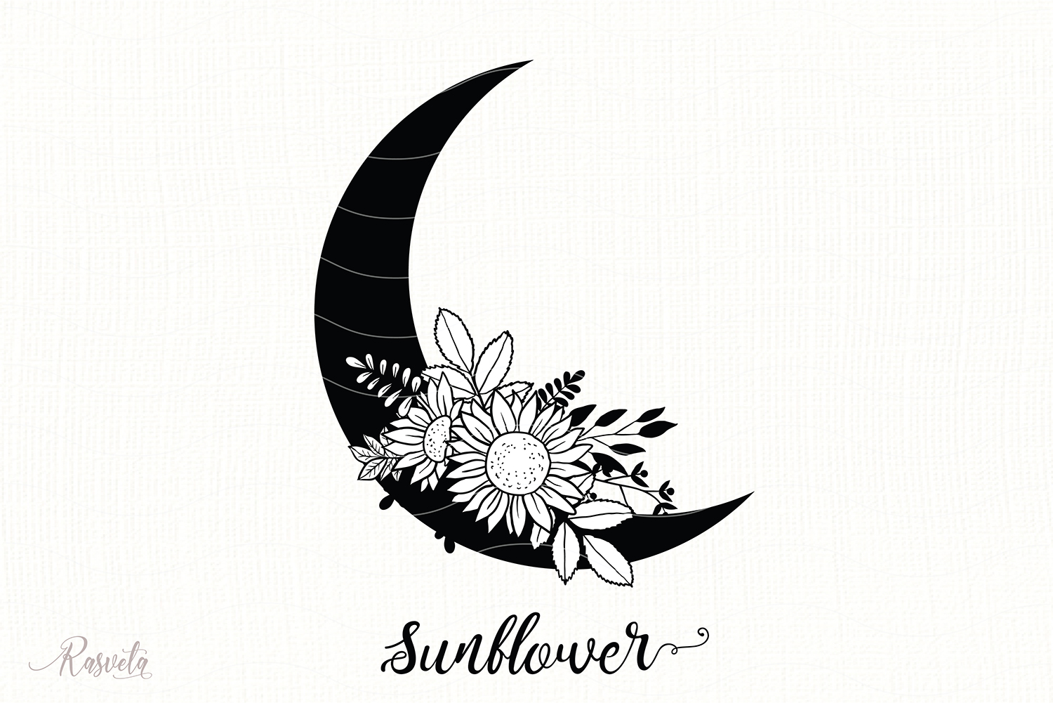 Silhouette Of The Moon With Flowers Graphic By Rasveta Creative Fabrica Browse our sunflower silhouette images, graphics, and designs from +79.322 free vectors graphics. silhouette of the moon with flowers