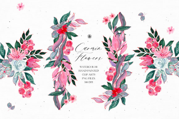 Print on Demand: Watercolor Carmin Flowers - Floral Set Graphic Illustrations By webvilla