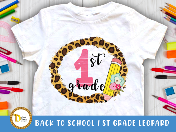 Print on Demand: Back to School Leopard Frame 1st Grade Graphic Crafts By dina.store4art