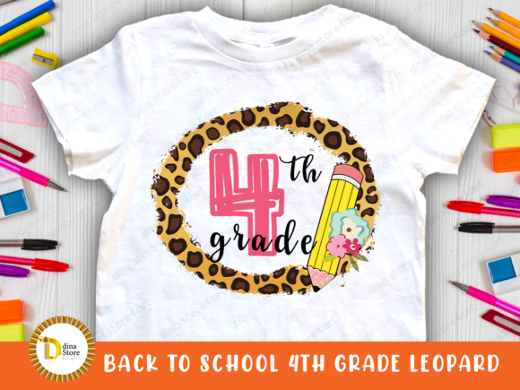 Print on Demand: Back to School Leopard Frame 4 Th Grade Graphic Crafts By dina.store4art