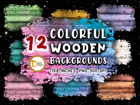 Print on Demand: Sublimation Colorful Wooden Backgrounds Graphic Backgrounds By dina.store4art - Image 1