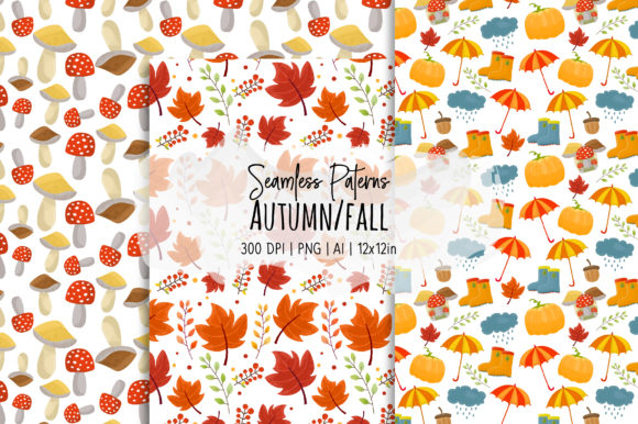 Print on Demand: Autumn/Fall Seamless Vector Patterns Graphic Patterns By loyaarts