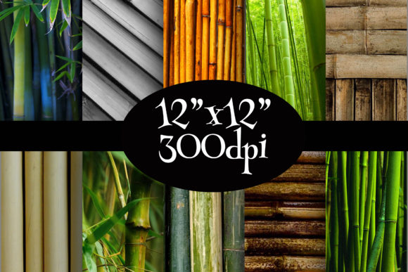 Print on Demand: Bamboo Digital Paper Pack Graphic Backgrounds By Party Pixelz