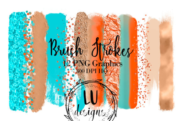 Beach Brush Strokes Glitter Clipart Graphic Objects By Lu Designs