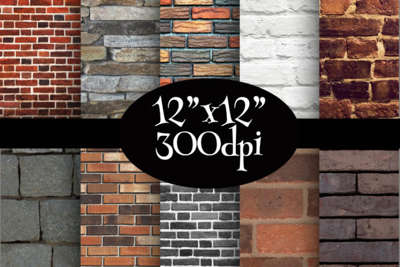 Print on Demand: Bricks Texture Digital Paper Pack Graphic Backgrounds By Party Pixelz