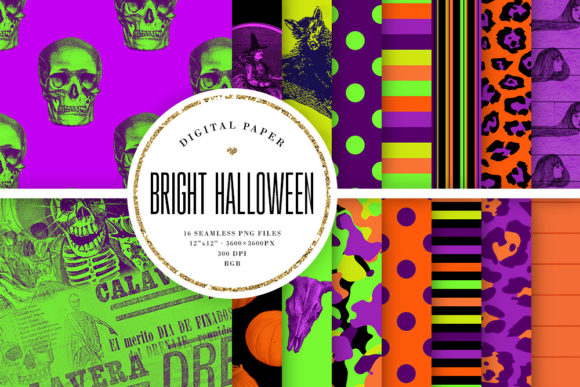 Print on Demand: Bright Halloween Seamless Patterns Graphic Backgrounds By Sabina Leja