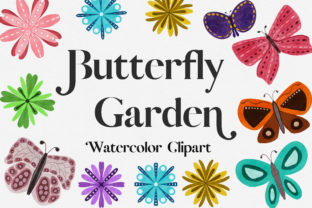Print on Demand: Butterfly Garden Watercolor Clipart Graphic Illustrations By PinkPearly