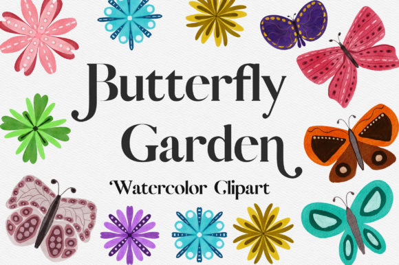 Butterfly Garden Watercolor Clipart Graphic Illustrations By PinkPearly