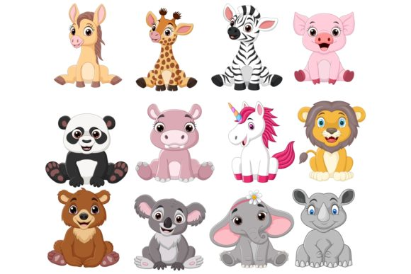 Cartoon Baby Animal Bundle Graphic Illustrations By tigatelusiji