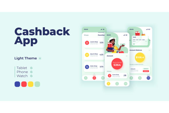Print on Demand: Cashback App Smartphone Interface Graphic UX and UI Kits By bsd studio