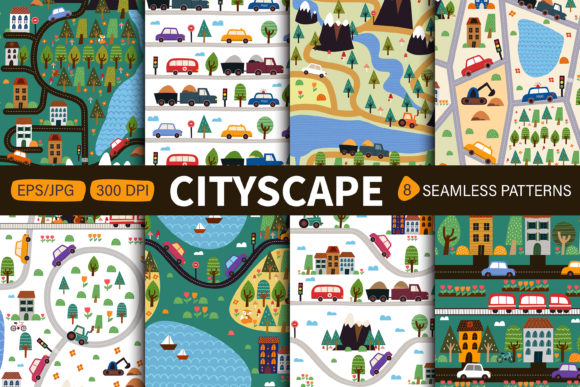 Childish Seamless Pattern with Cityscape Graphic Patterns By FindsArtDesign