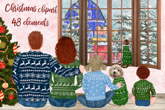 Christmas Family Clipart Matching Sweaters Graphic
