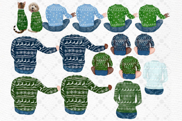 Christmas Family Clipart Matching Sweaters Graphic Download