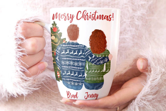 Christmas Family Clipart Matching Sweaters Graphic Image