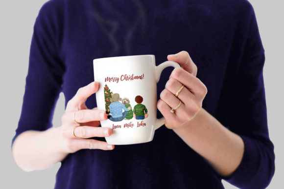 Christmas Family Clipart Matching Sweaters Graphic Design Item