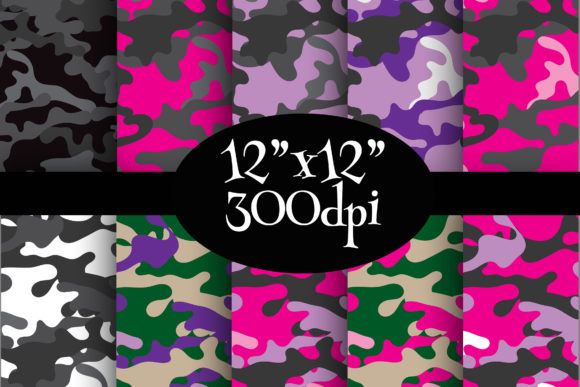Print on Demand: Girls Camo Digital Paper Pack Graphic Backgrounds By Party Pixelz