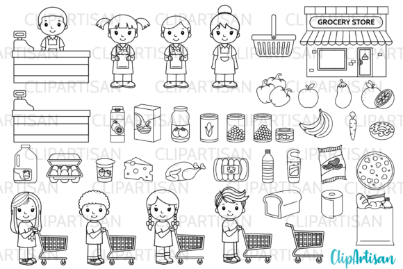 Grocery Store Clip Art Graphic Illustrations By ClipArtisan