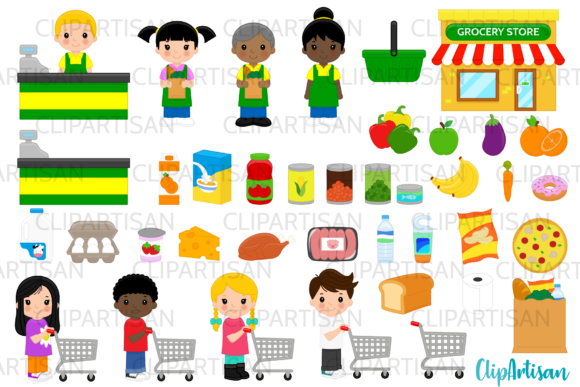 Grocery Store Clip Art, Supermarket Graphic Illustrations By ClipArtisan