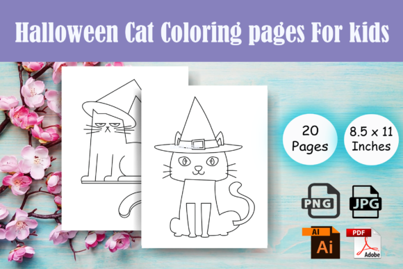 Print on Demand: Halloween Cat Coloring Page for Kids-KDP Graphic Coloring Pages & Books Kids By Sei Ripan