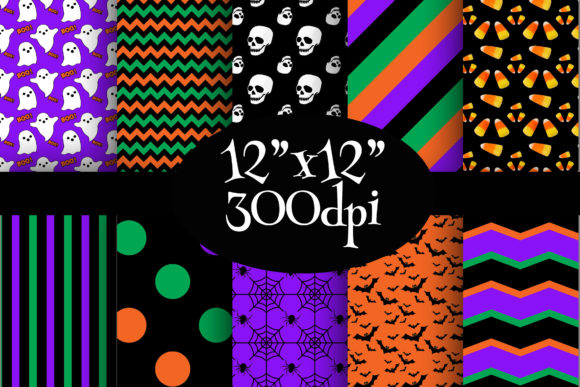 Print on Demand: Halloween Digital Paper Pack Graphic Backgrounds By Party Pixelz