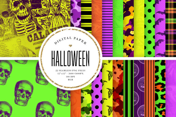 Print on Demand: Halloween Seamless Patterns Graphic Patterns By Sabina Leja