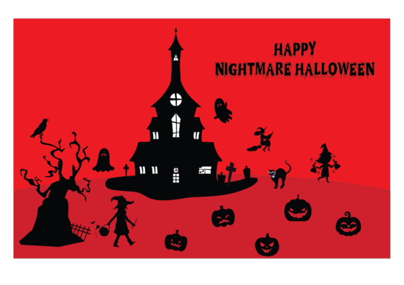 Halloween Silhouette Background Graphic Illustrations By optimasipemetaanlokal