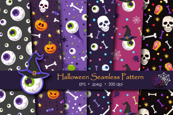 Print on Demand: Halloween Skull and Eyeballs Pattern Graphic Patterns By jannta