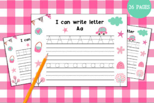 Handwriting Practice a-Z (Cute Themed) Graphic PreK By Miss Cherry Designs