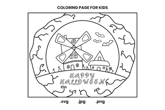 Print on Demand: Happy Halloween House Coloring Page Graphic Coloring Pages & Books Kids By doridodesign
