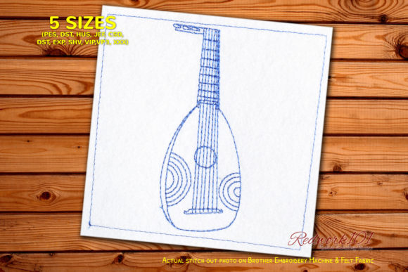 Lute Music Embroidery Design By Redwork101