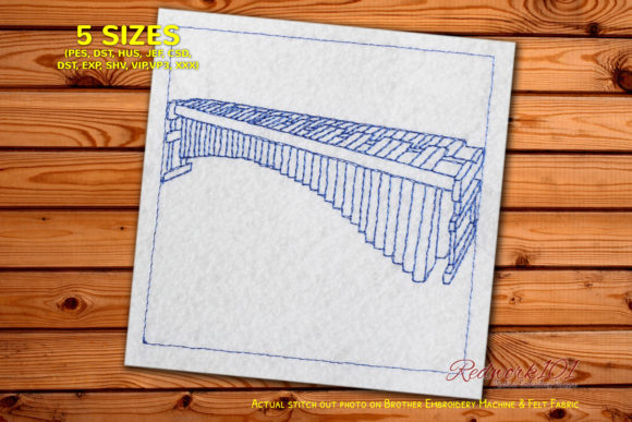 Marimba Musical Instrument Redwork Music Embroidery Design By Redwork101